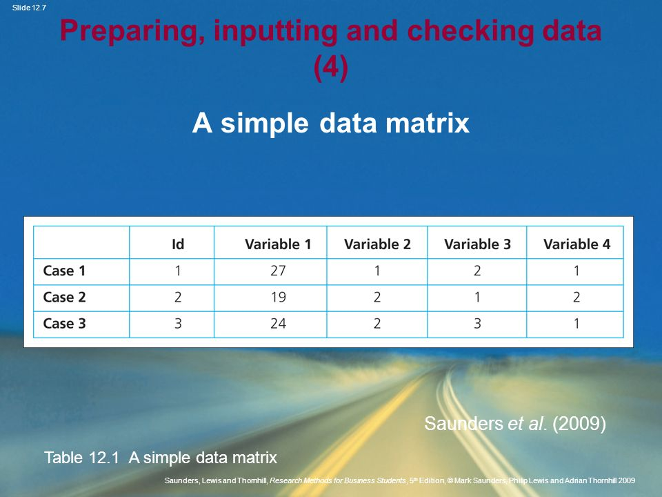 Preparing, inputting and checking data (4)