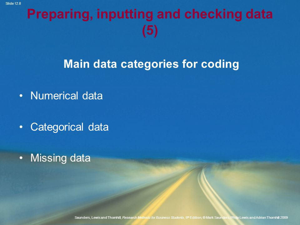 Preparing, inputting and checking data (5)