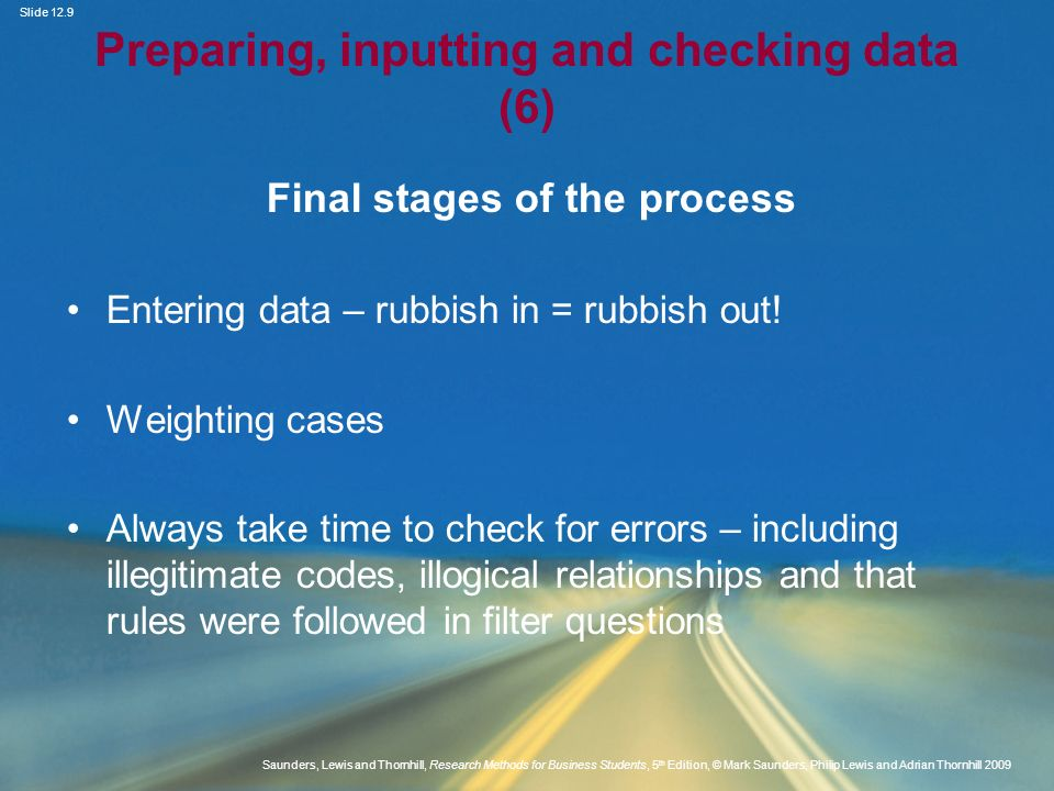 Preparing, inputting and checking data (6)