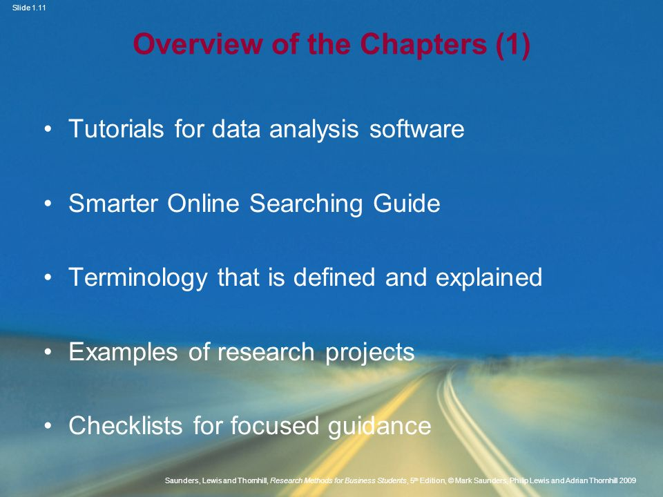 Overview of the Chapters (1)