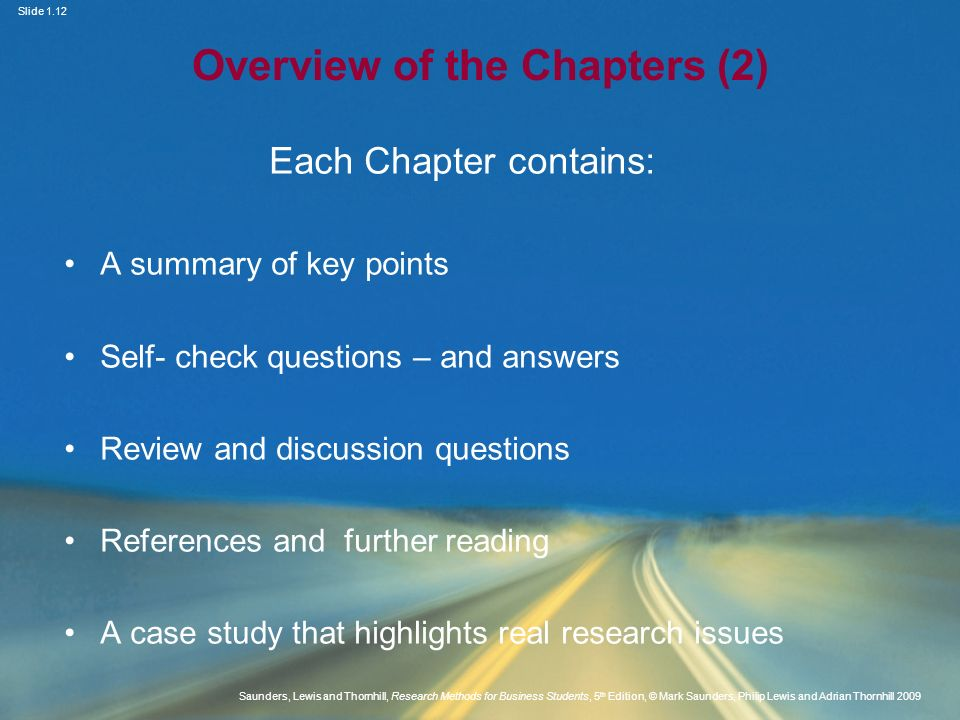 Overview of the Chapters (2)