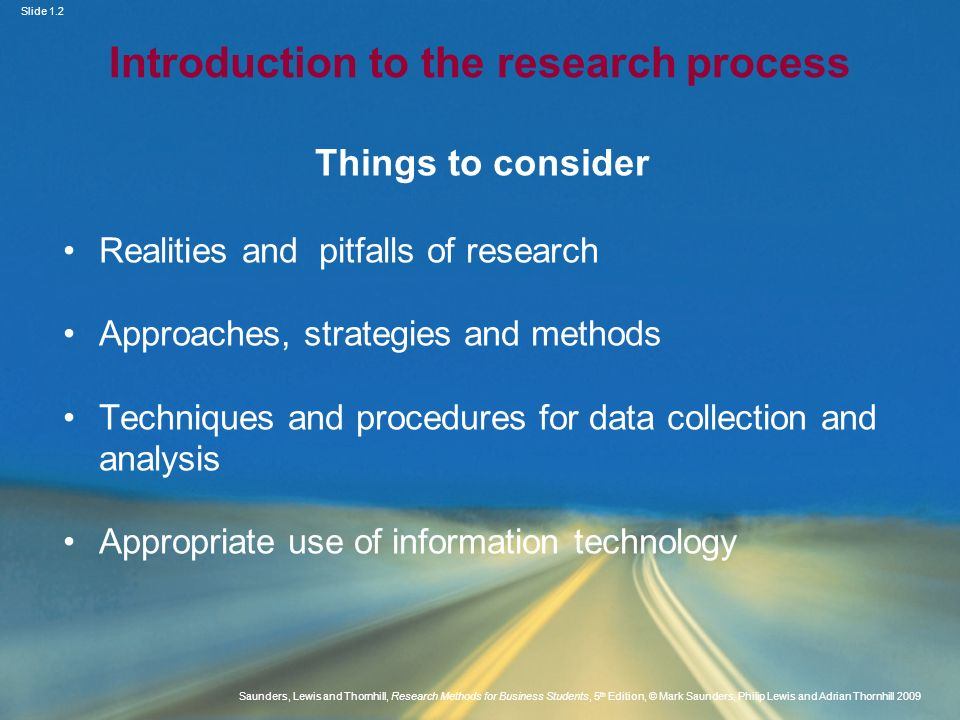 Introduction to the research process