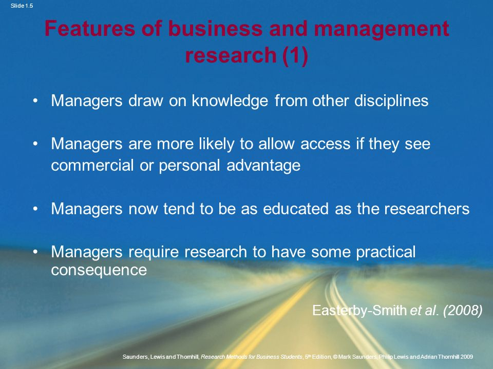 Features of business and management research (1)