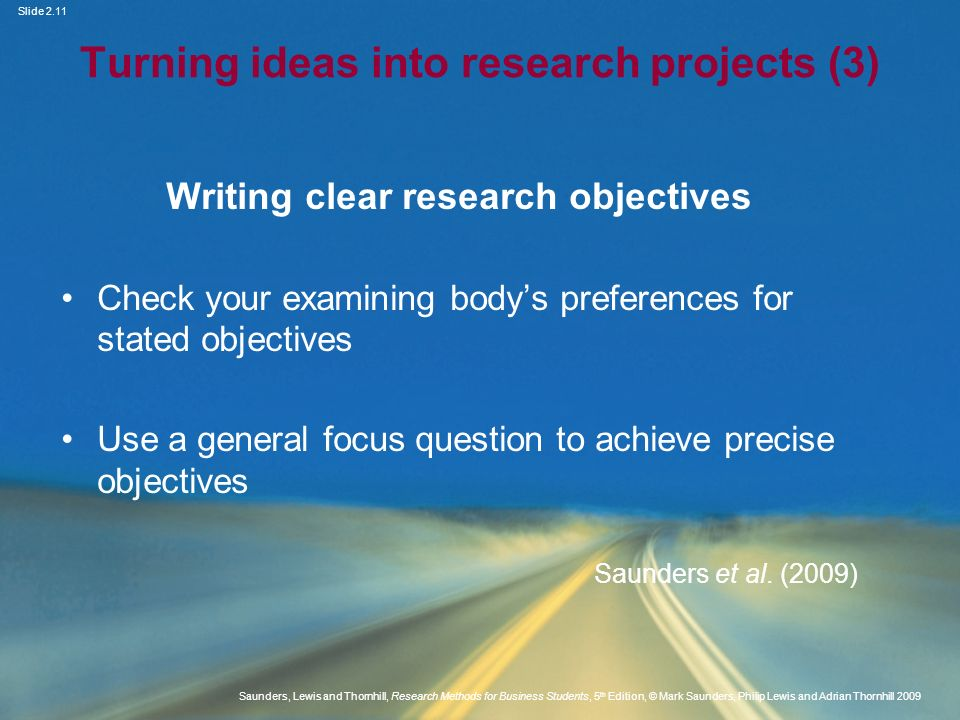 Turning ideas into research projects (3)