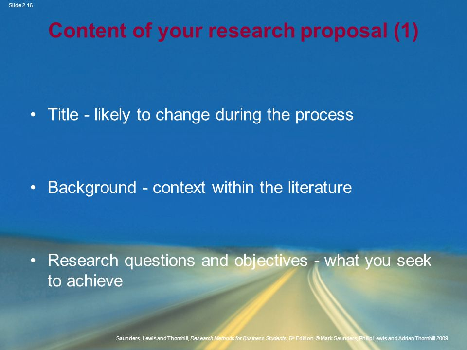 Content of your research proposal (1)