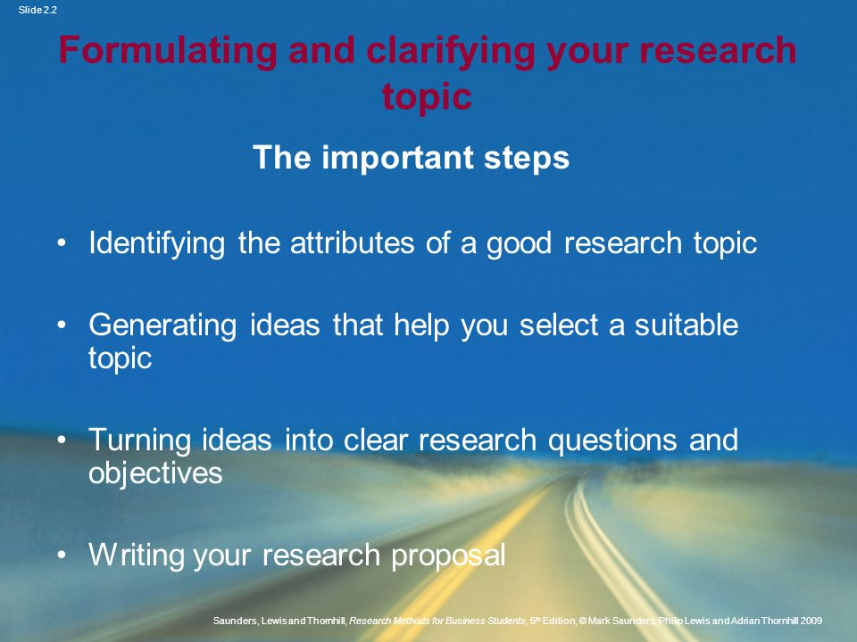 Formulating and clarifying your research topic