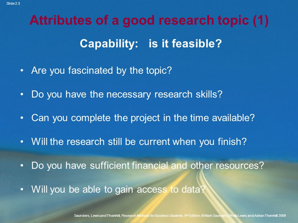 Attributes of a good research topic (1)