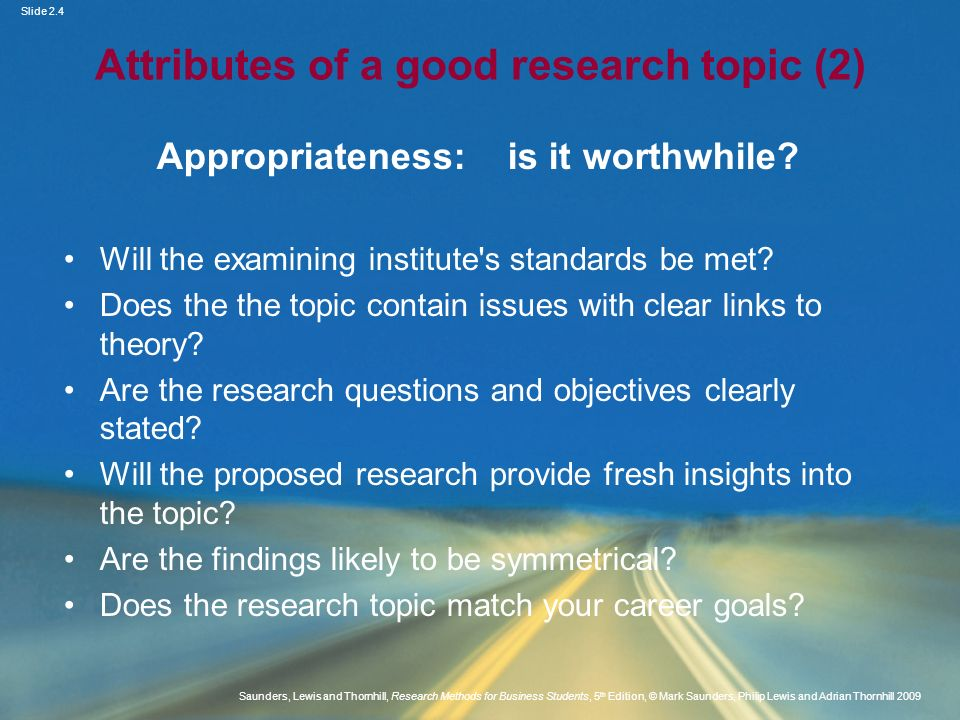 Attributes of a good research topic (2)