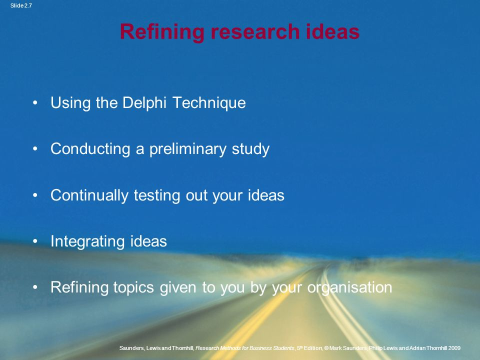 Refining research ideas
