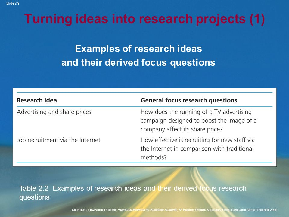 Turning ideas into research projects (1)