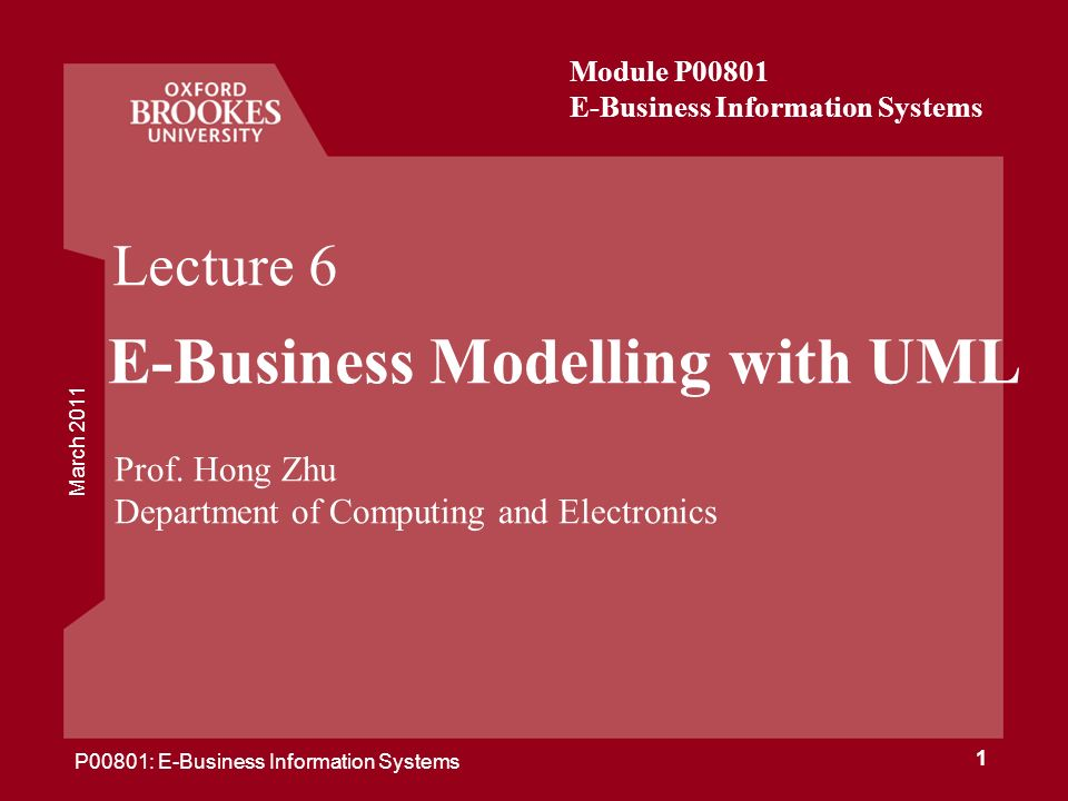 E-Business Modelling with UML