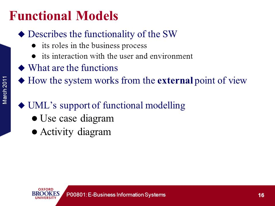 Functional Models Use case diagram Activity diagram