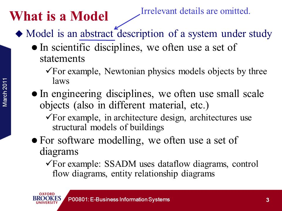 What is a Model Irrelevant details are omitted. Model is an abstract description of a system under study.