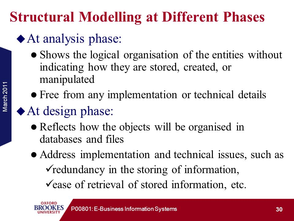 Structural Modelling at Different Phases