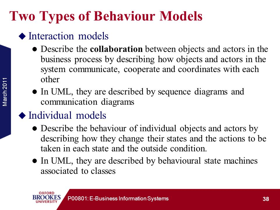 Two Types of Behaviour Models