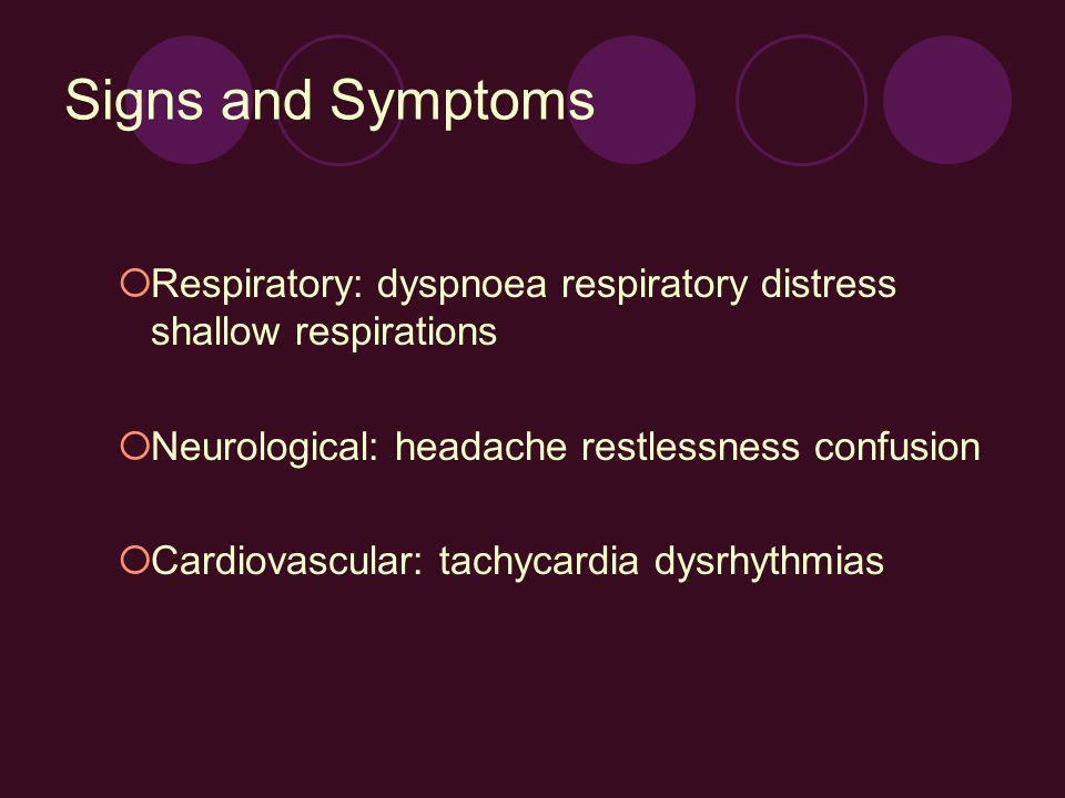 Signs and Symptoms Respiratory: dyspnoea respiratory distress shallow respirations. Neurological: headache restlessness confusion.