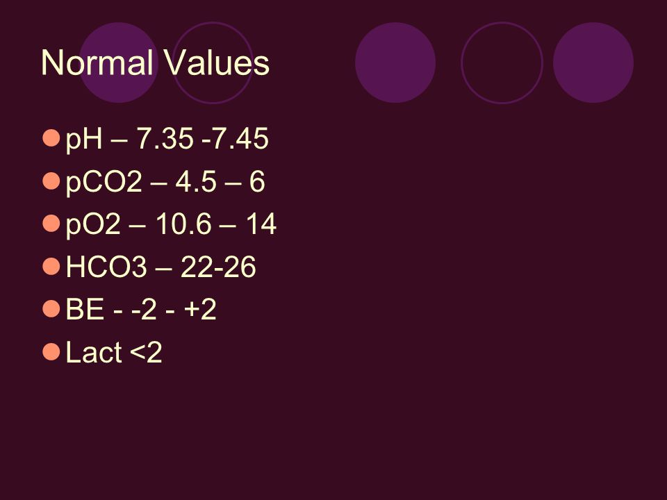 Normal Values pH – 7.35 -7.45 pCO2 – 4.5 – 6 pO2 – 10.6 – 14