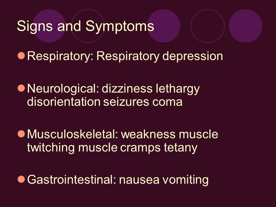 Signs and Symptoms Respiratory: Respiratory depression