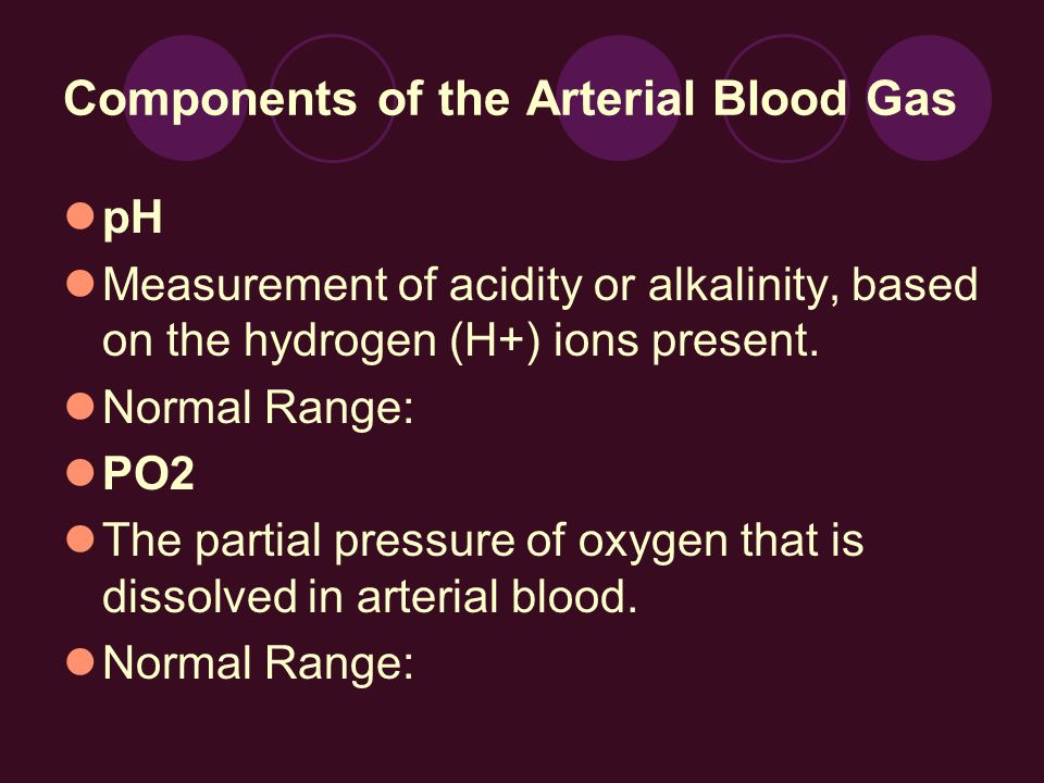 Components of the Arterial Blood Gas