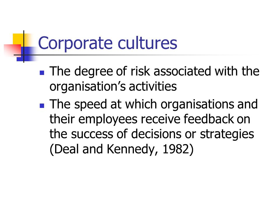 Corporate cultures The degree of risk associated with the organisation's activities.