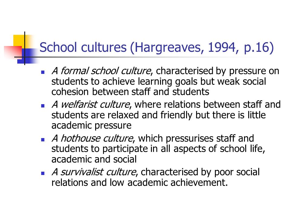 School cultures (Hargreaves, 1994, p.16)