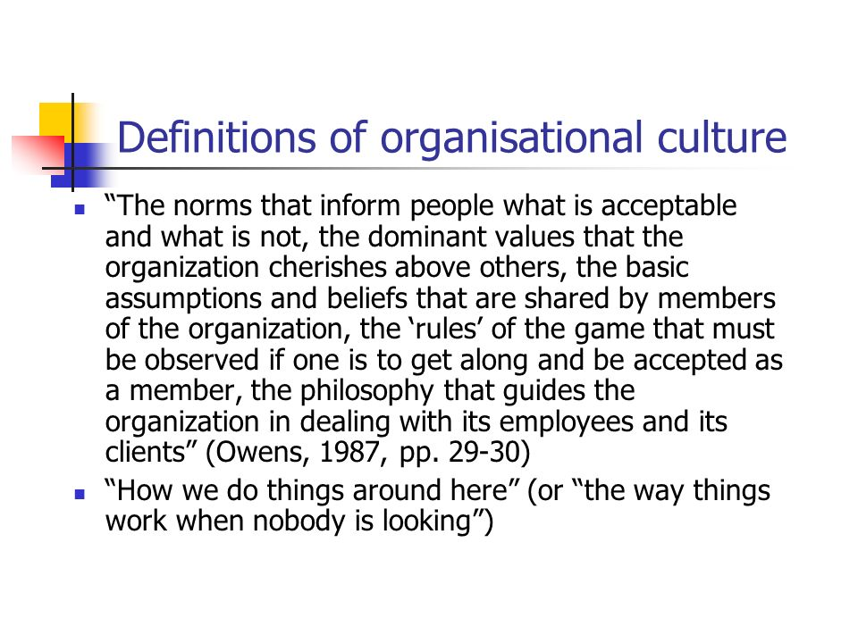 Definitions of organisational culture