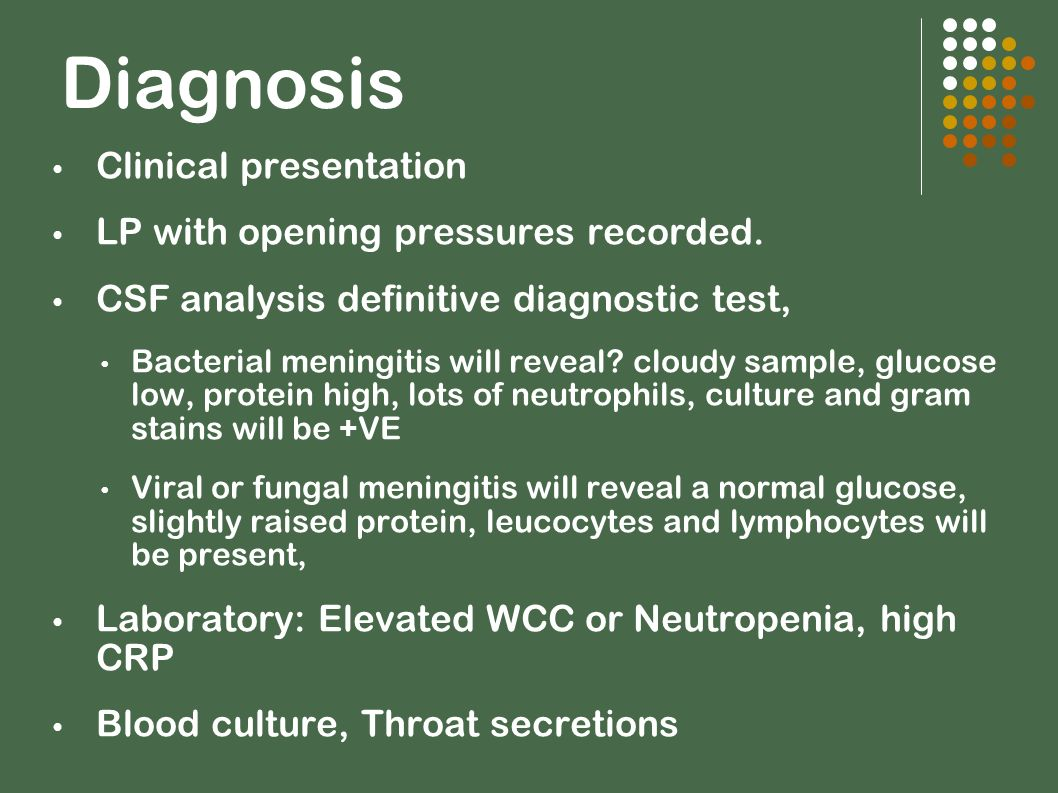 Diagnosis Clinical presentation LP with opening pressures recorded.