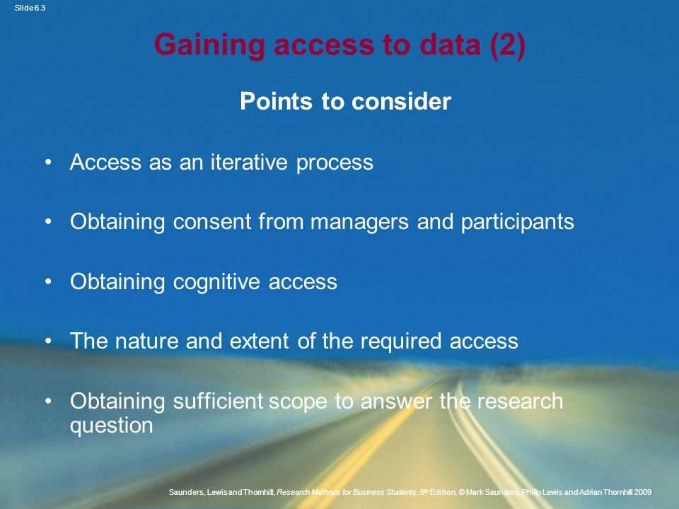 Gaining access to data (2)