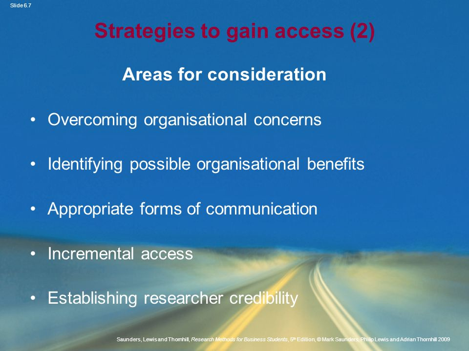 Strategies to gain access (2)