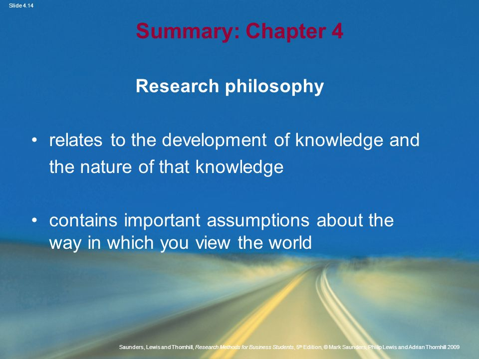 Summary: Chapter 4 Research philosophy