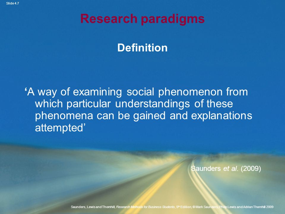 Research paradigms Definition