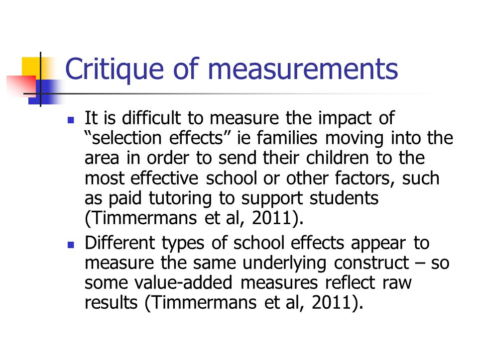 Critique of measurements