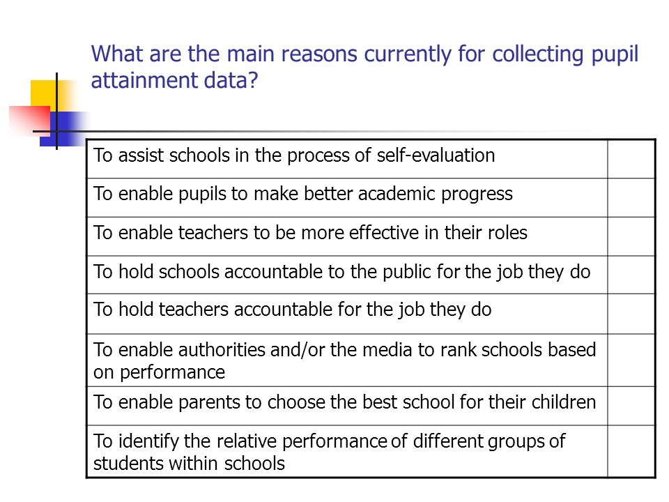What are the main reasons currently for collecting pupil attainment data
