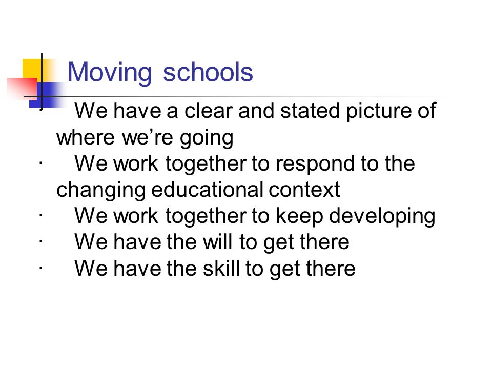 Moving schools · We have a clear and stated picture of where we're going. · We work together to respond to the changing educational context.