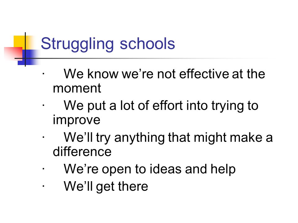 Struggling schools · We know we're not effective at the moment
