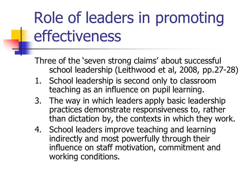 Role of leaders in promoting effectiveness