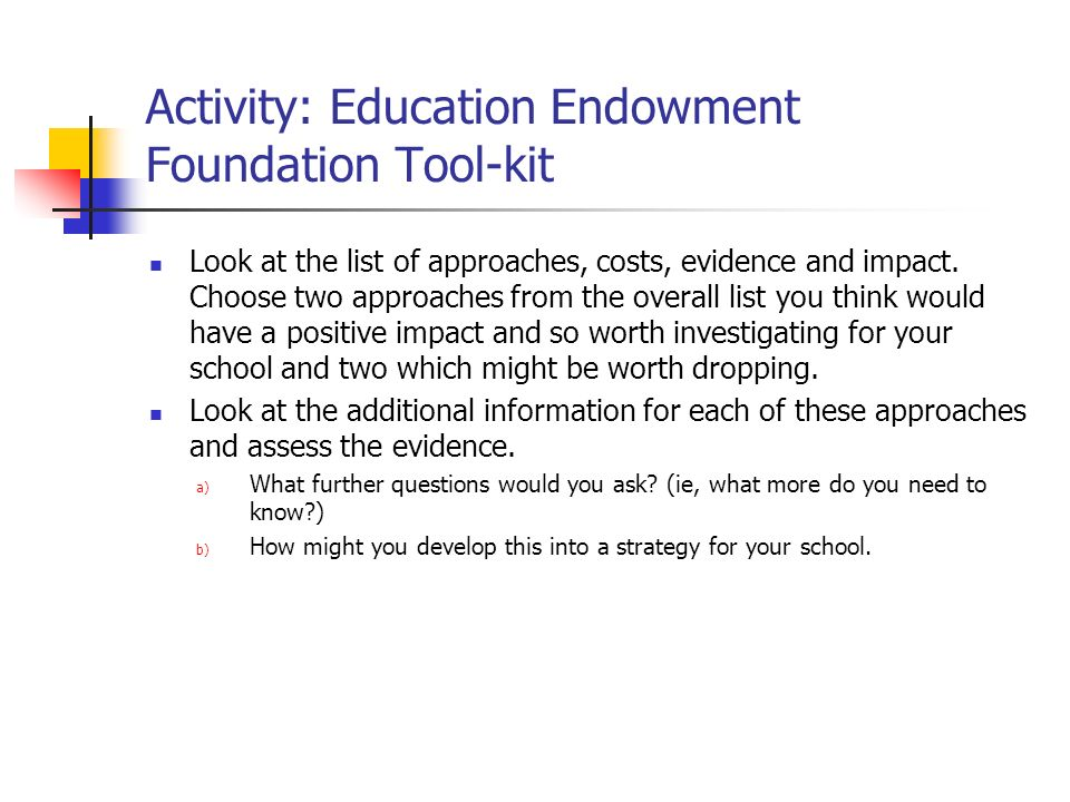 Activity: Education Endowment Foundation Tool-kit