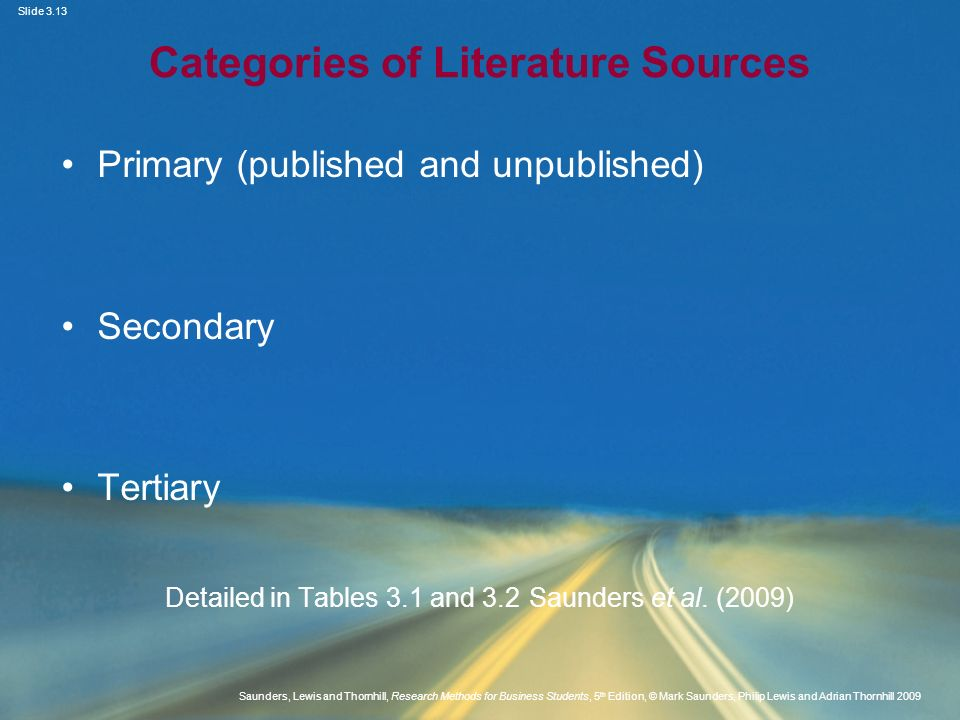 Categories of Literature Sources