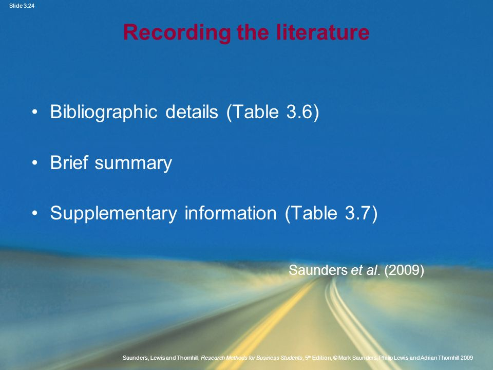 Recording the literature
