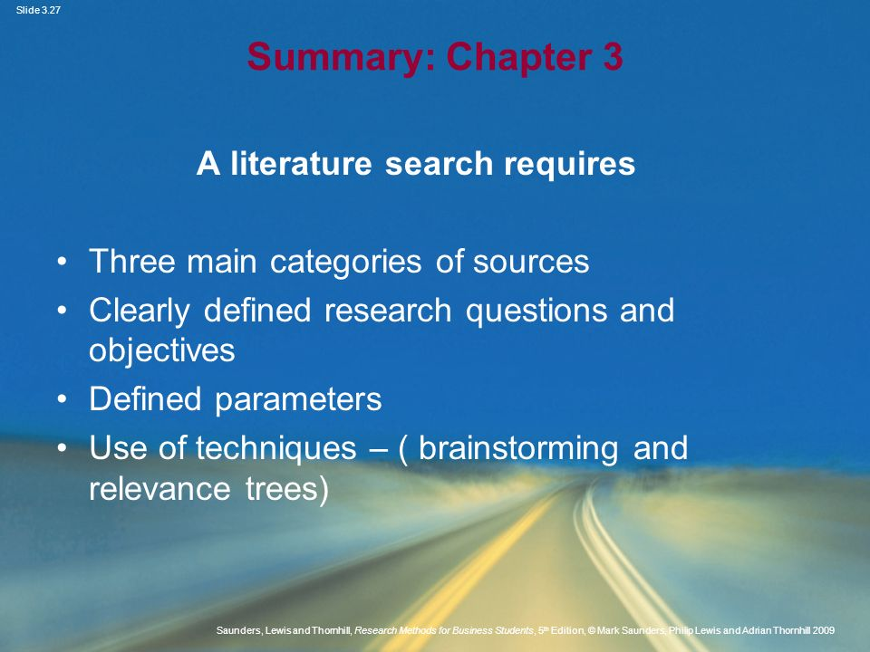 A literature search requires