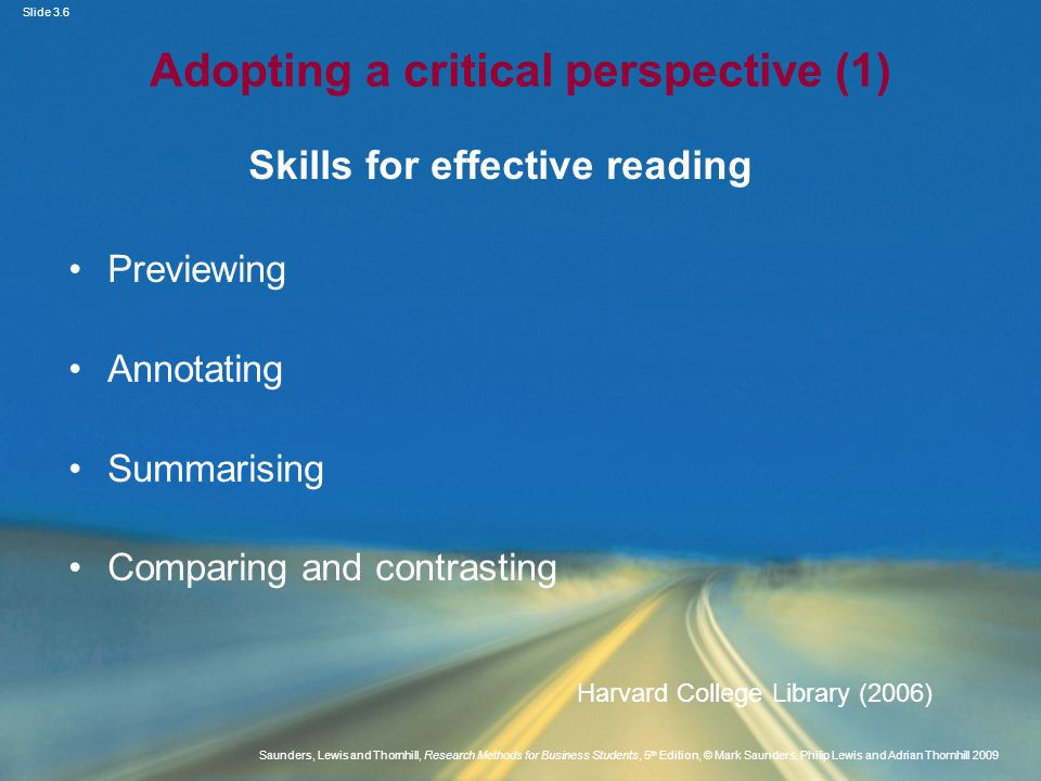 Adopting a critical perspective (1)