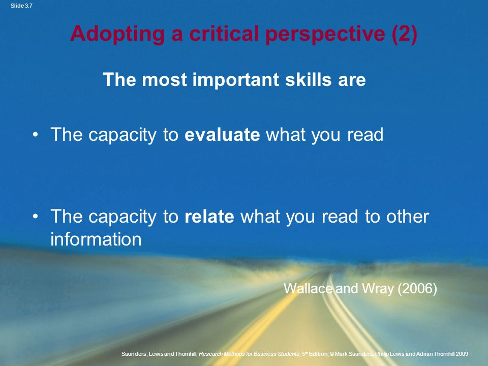 Adopting a critical perspective (2)