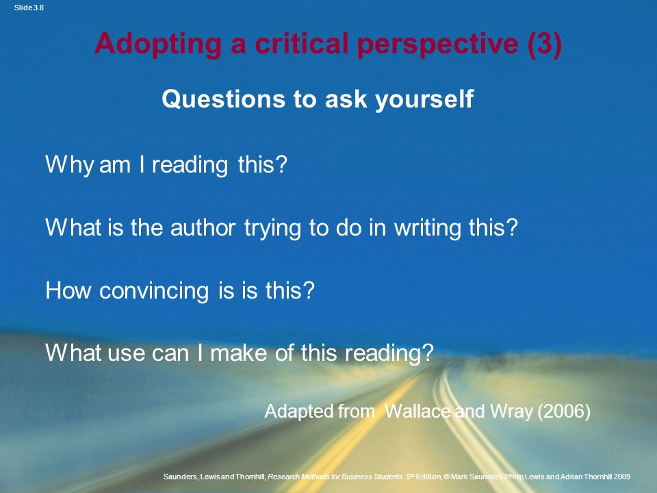 Adopting a critical perspective (3)