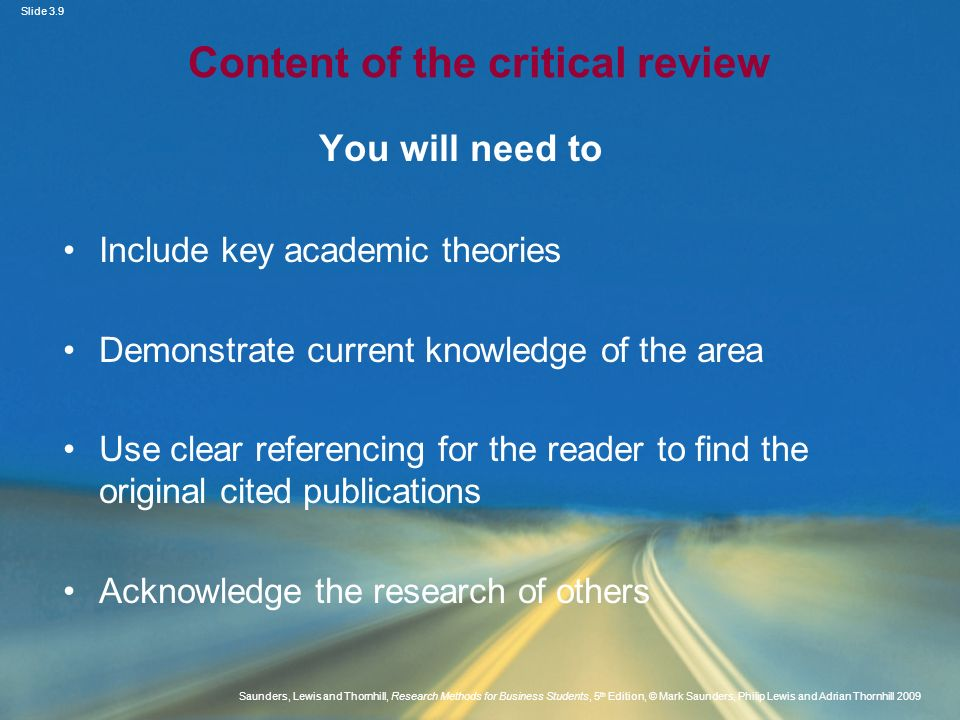 Content of the critical review