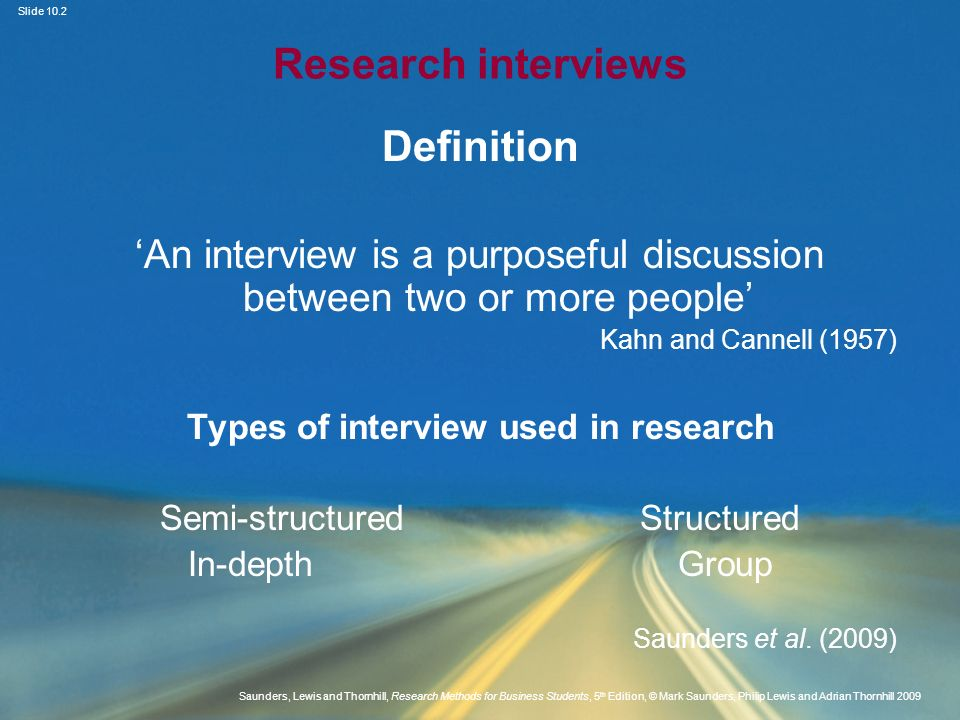 Types of interview used in research