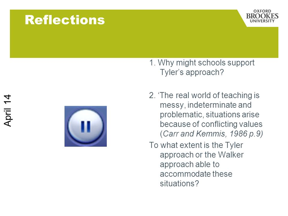 Reflections March 17 1. Why might schools support Tyler's approach