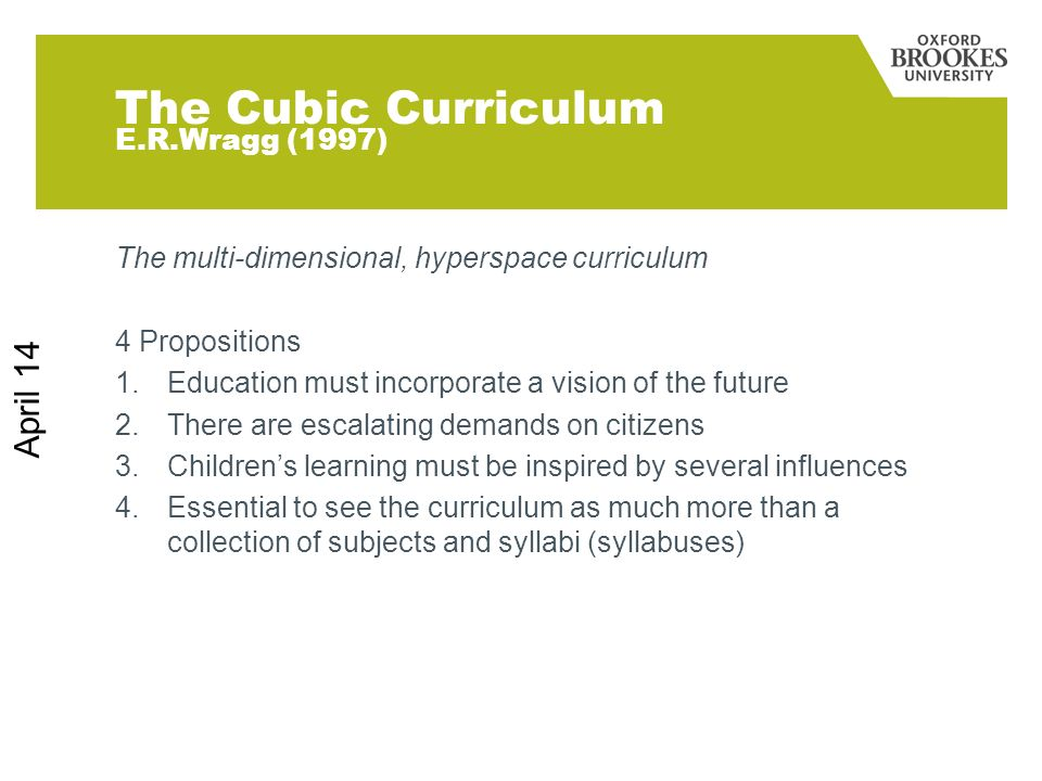 The Cubic Curriculum E.R.Wragg (1997)