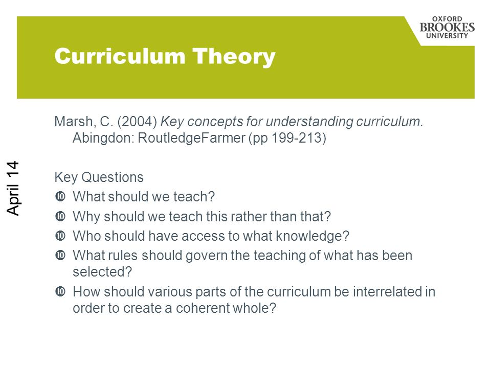 Curriculum Theory March 17