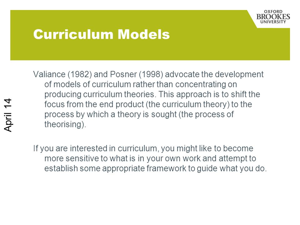 Curriculum Models March 17