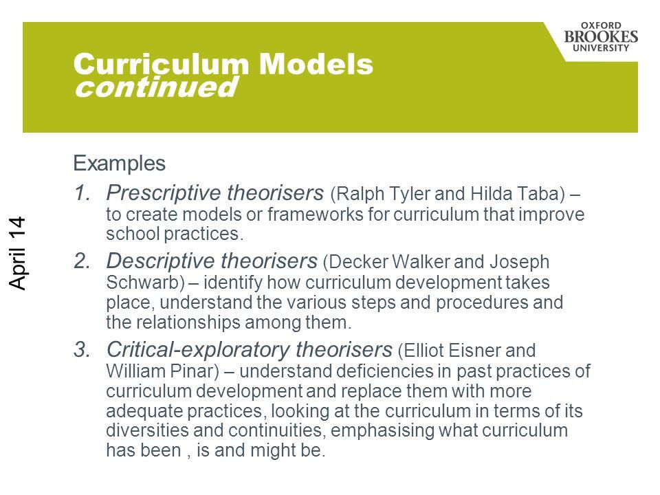 Curriculum Models continued